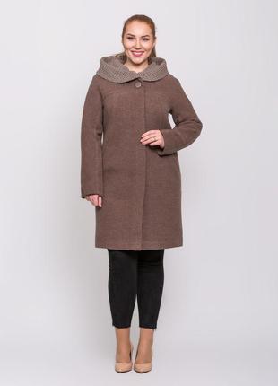 Скидка! женское демисезонное пальто с капюшоном большие размеры