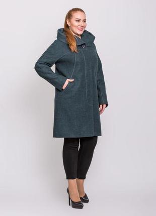 Скидка! женское демисезонное зеленое пальто с капюшоном больши...