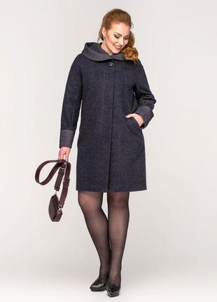Скидка! женское демисезонное синее пальто с капюшоном большие ...