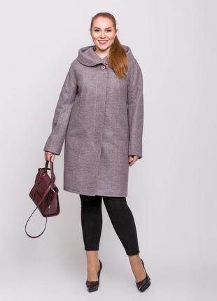 Скидка! женское демисезонное пудровое пальто с капюшоном больш...
