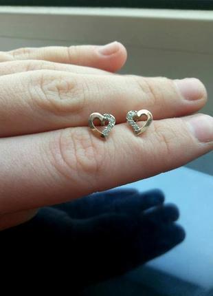 Сердечки серебро с золотой пластиной