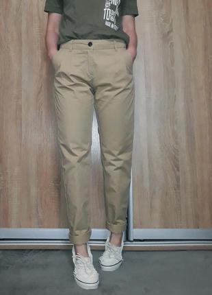 Крутые коттоновые песочные бежевые брюки - чиносы, карго на ве...
