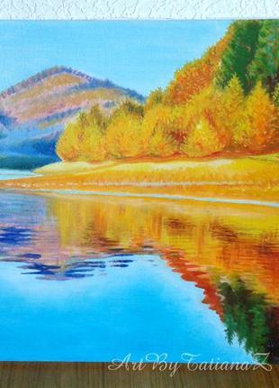 """Картина """"Осень золотая"""" пейзаж живопись масло холст"""