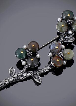 Шикарная брошь разноцветный натуральный камень