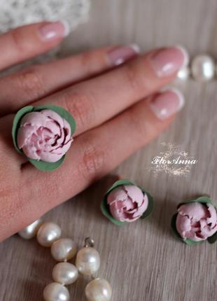 """Комплект украшений с цветами из полимерной глины """"розовые пион..."""