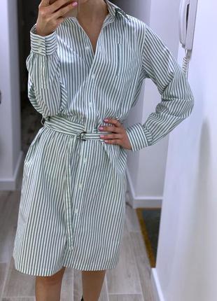 Хлопковое платье - рубашка с поясом