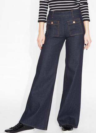 Брендовые темно-синие джинсы кюлоты monki denim пакистан орган...