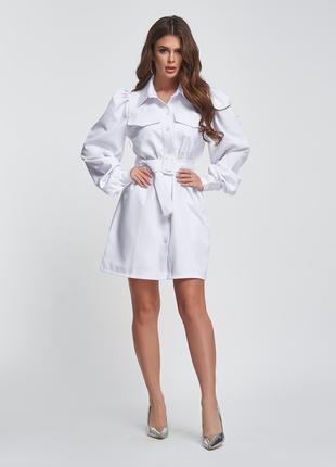 Белое платье-рубашка с присборенными рукавами