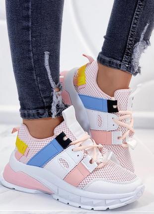 Новые шикарные женские бело-розовые кроссовки