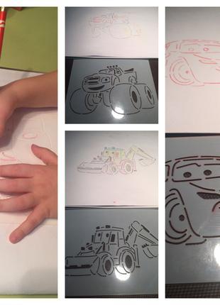 Раскраска трафарет для детского творчества,персонажи мультикиков,