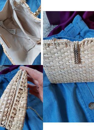 Мега стильная сумка клатч из ротанга ,zara
