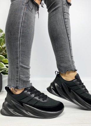 Черные женские кроссовки в стиле adidas sharks, кроссовки акул...
