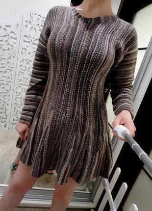 Платье зимнее вязаное шерстяное шерсть теплое м l роскошное