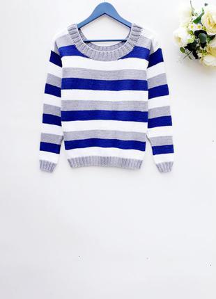 Полосатый свитер красивый теплый свитер в полоску
