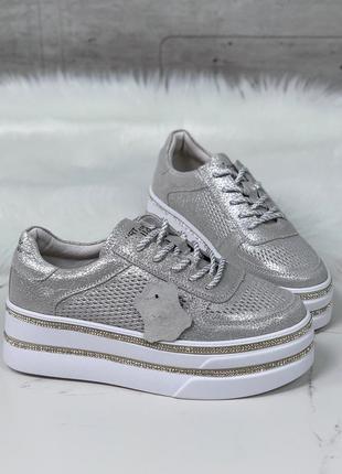 Серебристые кроссовки на высокой платформе,серебряные кеды на ...