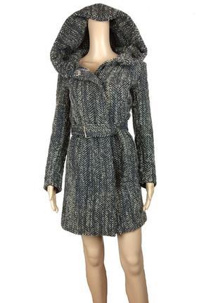 Твидовое шерстяное пальто халат на молнии с большим капюшоном