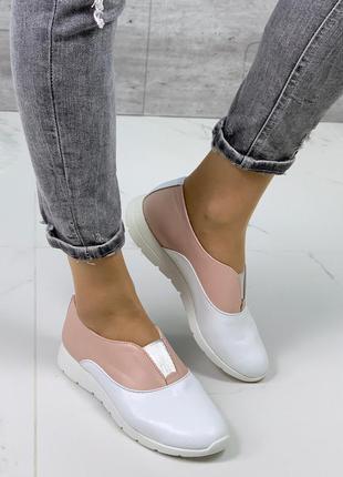 Белые кожаные туфли с пудровыми вставками,бело-розовые туфли и...