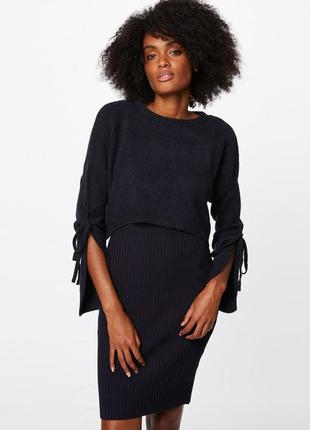 Трикотажное платье со свободным свитером сверху от французског...