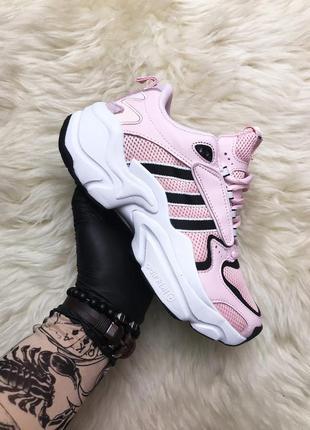 Кроссовки женские  adidas x naked magmur runner pink white black