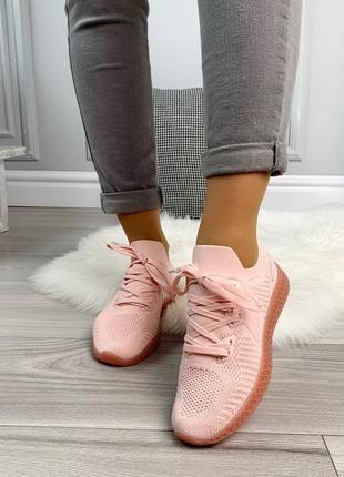 Новые шикарные женские персиковые кроссовки