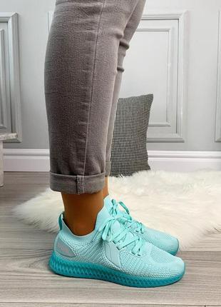 Новые шикарные женские бирюзовые кроссовки