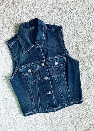 Джинсовка безрукавка жилетка джинсовая