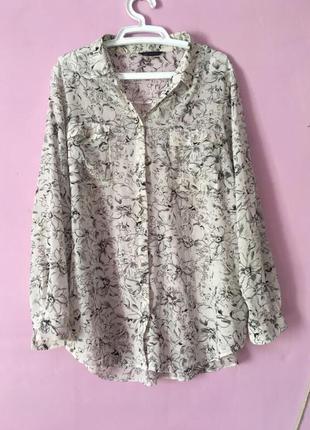 Блуза рубашка большой размер шифон цветы стройнит