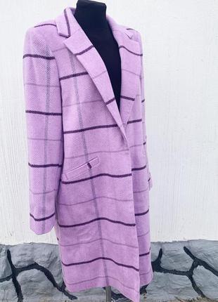 Лавандовое пальто в клетку george - большой размер