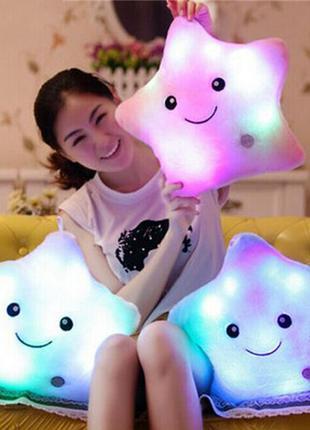 Подушка светящаяся для детей, подушка-игрушка звездочка, белый