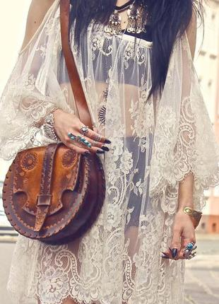 Кружевная пляжная туника, платье цвет айвори