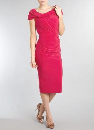 Нарядное вечернее платье с открытыми плечами фуксия pied a terre