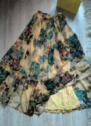 Шикарная шифоновая пышная юбка в пол с рюшем в цветочный принт