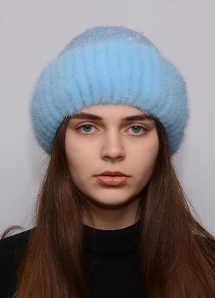 Женская вязанная шапка с бубоном из норки ажур небо