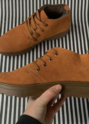 Мужские зимние низкие полу ботинки рыжие