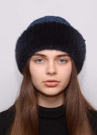 Женская вязаная шапка с бубоном из норки ажур темно синий