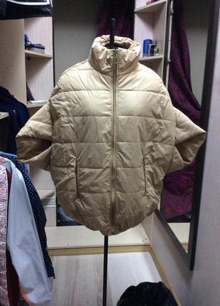 Актуальная куртка, жилет-кокон нюдового цвета