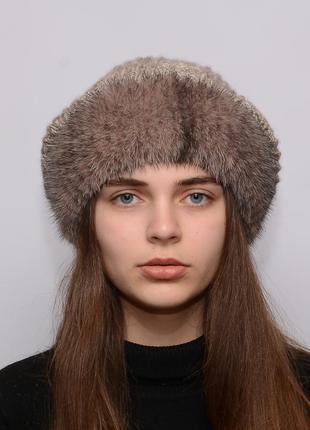 Женская вязанная шапка с бубоном из норки ажур крестовка