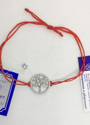 Красная нить браслет оберег дерево жизни серебро 925 пробы
