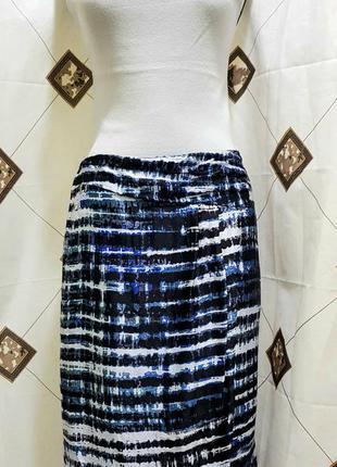 Синяя юбка лето hugo boss 100% шёлк оригинал люкс бренд
