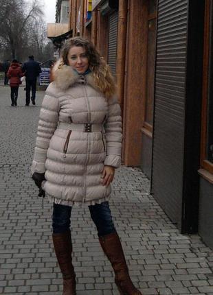 Пуховик куртка бежевая зимняя весенняя 48  50 размер на пуху л...