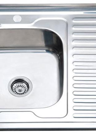 Мойка кухонная накладная из нержавейки 80*60 см в комплектации