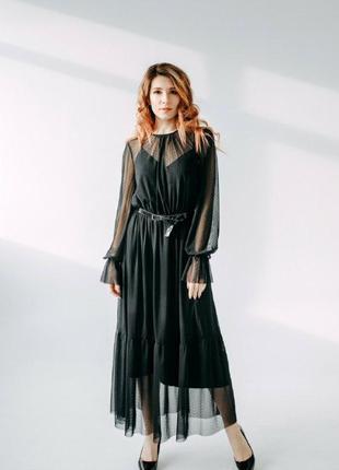 Платье черное макси сетка с подкладкой