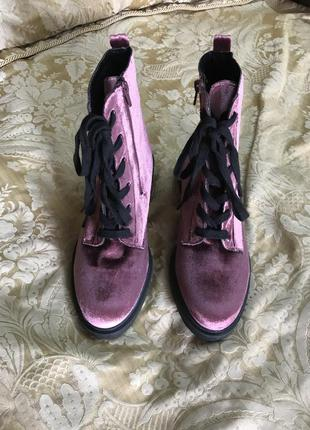 Женские ботинки бархатные розовый цвет 39 р primark usa 8