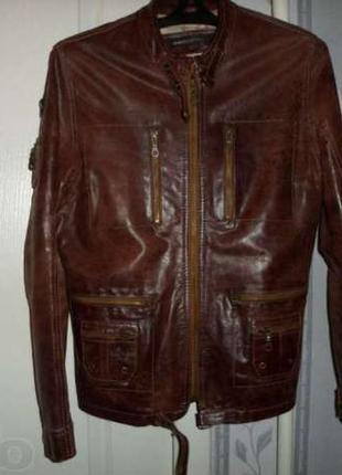 Натуральна итальянская кожаная куртка polo garag