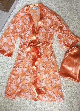 Пляжный халатик персикового цвета