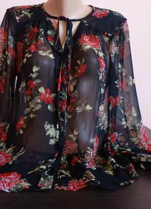 Шифоновая индийская блузка в цветочный принт