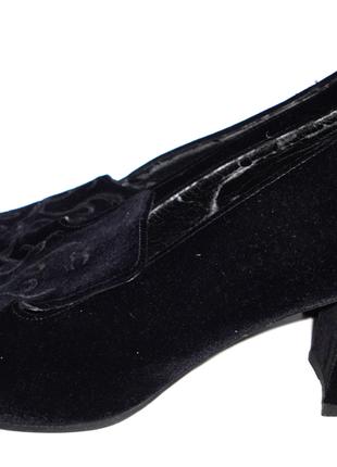 Черные туфли р.39,5 - 40 стелька 25,5 велюр