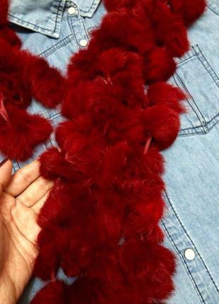 Натуральный красный шарфик из меха кролика