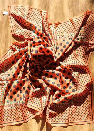 Красивый легенький шелк платок шаль в горошек