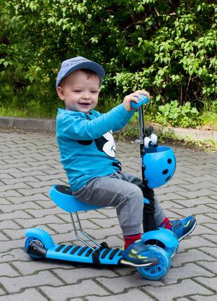 Детский самокат Scooter Беговел 5в1 с родительской ручкой